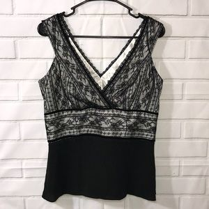 Ann Taylor Black Lace Sleeveless Top. Ivory lining
